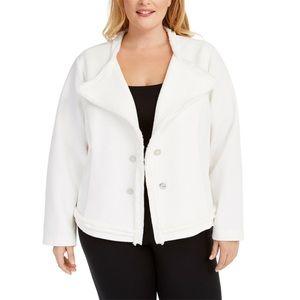 0X 2X Calvin Klein White Textured Knit Jacket Plus